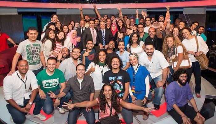 L'équipe d'Al-Bernameg lors de la visite de Jon Stewart